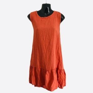 FRANCESCA BETTINI linen shift dress ruffle hem